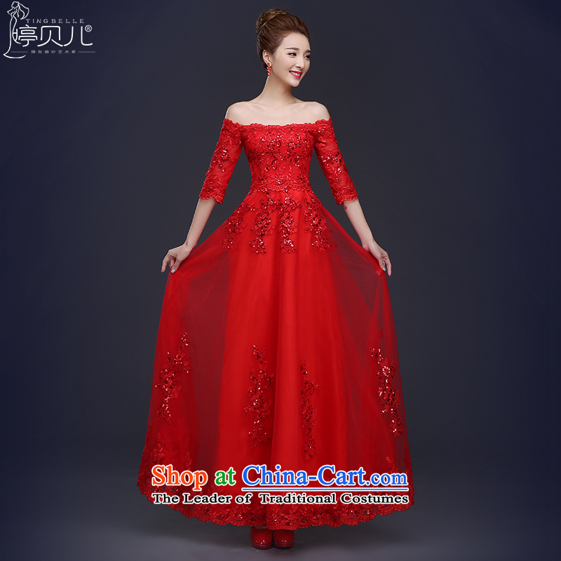 Beverly Ting聽2015 new bride bows services, field shoulder bride wedding dress red long banquet evening dresses female Chun RED聽M