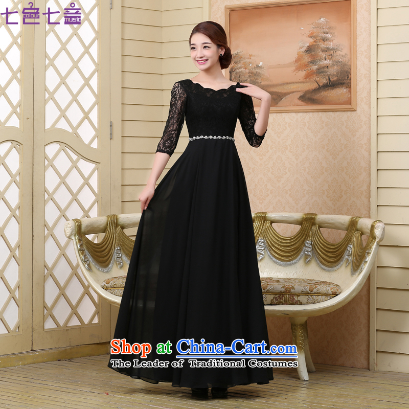 7 color tone won seven new spring and autumn 2015 edition boxed lace round-neck collar in the annual meetings of the services performed cuff banquet evening dress dress�L020�Black�XXL