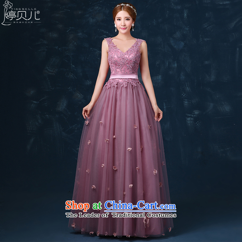Beverly Ting bride bows Services Mr Ronald 2015 new shoulders V-Neck evening dress banquet spring long wedding dress betrothal Sau San light purple聽L