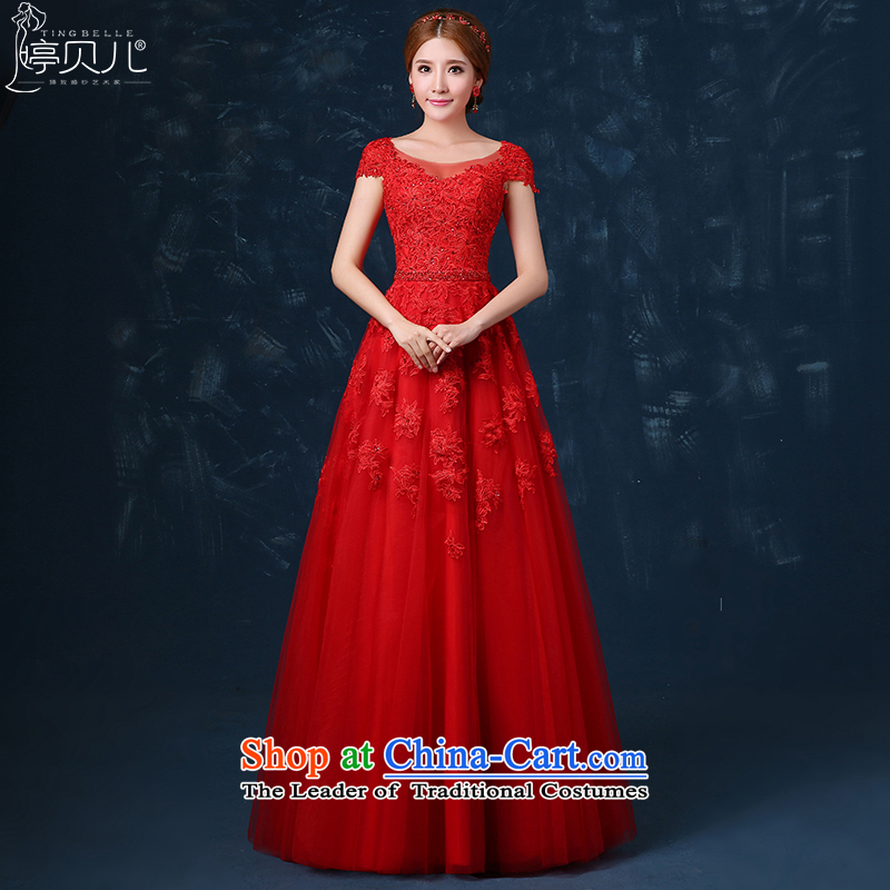 Beverly Ting?2015 new bride bows Services Mr Ronald long shoulders red wedding dress Spring Banquet dress lace Sau San Red?XL