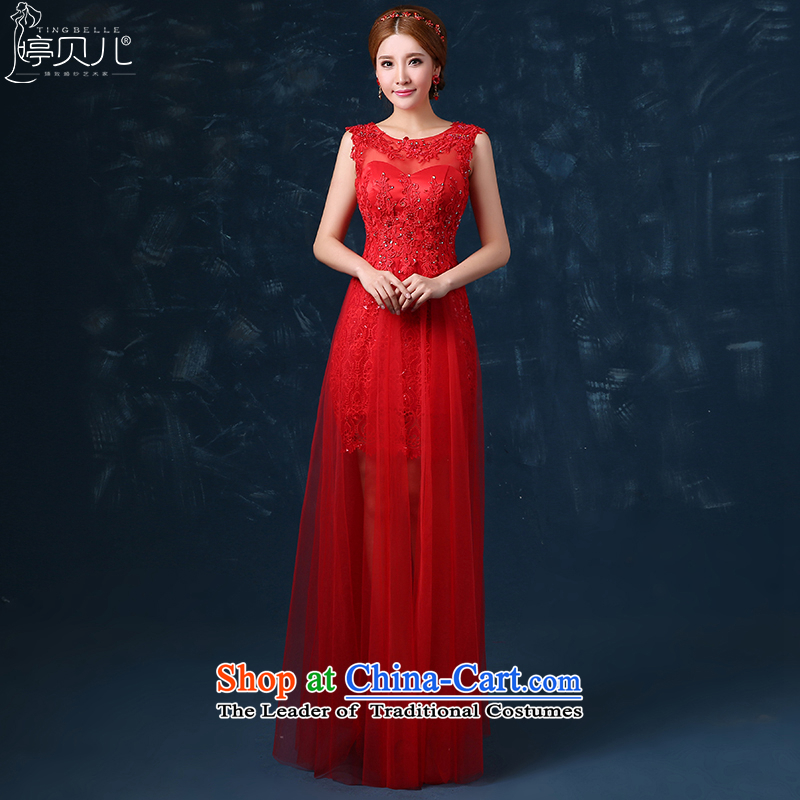 Beverly Ting 2015 new bride winter clothing long-bows shoulder wedding dress spring red dress banquet Ms. Sau San Red S