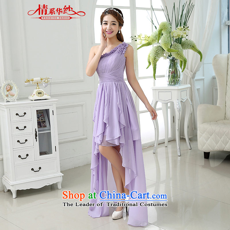 The feelings of Chinese New Year 2015 yarn of autumn and winter chiffon shoulder bridal dresses bridesmaid Sau San video thin front stub long after the skirt light purple?XXL