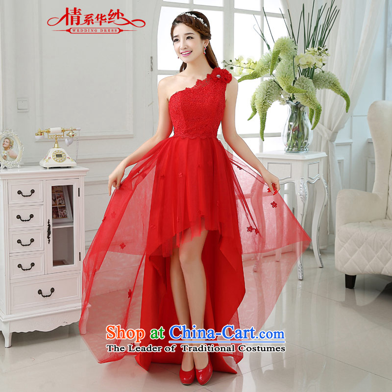 The feelings of Chinese New Year 2015 yarn of autumn and winter before long after short shoulder red chiffon lace stitching small dress marriages bows as the size of the Red service does not accept return