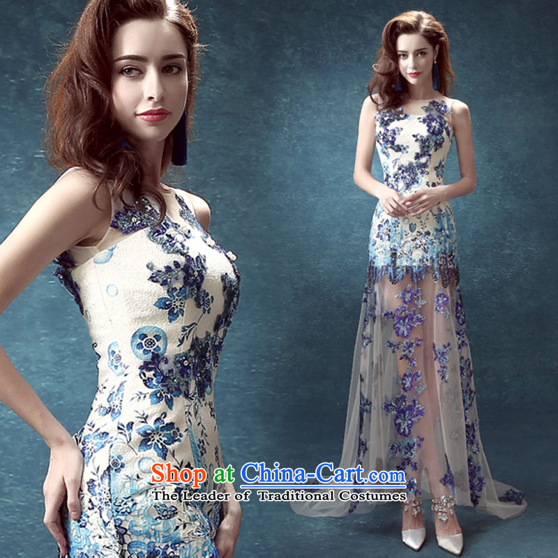 Porcelain blue back bride services Annual Dinner of the bows before the performance after short long wedding dresses luxury tail light blue dress�M