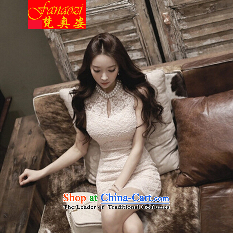 Van Gogh, Gigi Lai 2015 Korean sexy beauty video thin pearl collar engraving lace dresses White XL