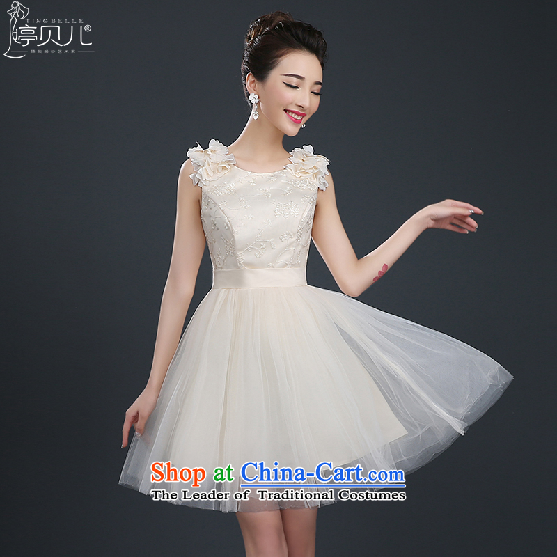 Beverly Ting Evening Dress Short of 2015 New small dining dress stylish marriages bows Services Mr Ronald red bridesmaid to female champagne color S