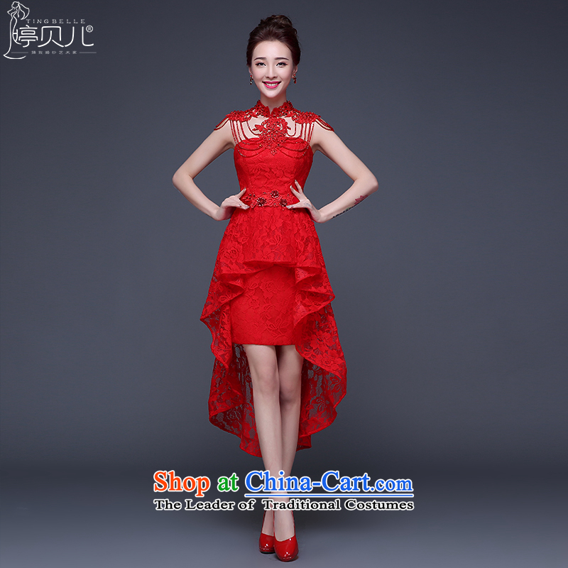 Beverly Ting front stub frockcoat bride toasting champagne after serving a winter 2015 New Evening Dress Short, red lace women marry the betrothal and chest ornaments red?L