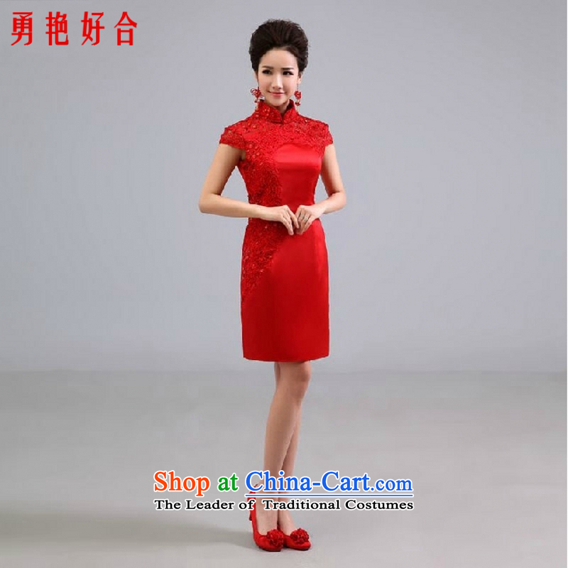 Yong-yeon and wedding dresses new 2015 Chinese short of improved services under the auspices of Sau San bows performances services for red color is not returning Size