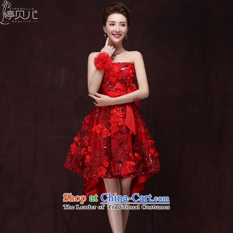Beverly Ting�15 winter new bride bows services evening dress short, lace large pregnant women marry the betrothal small dress skirt red燬