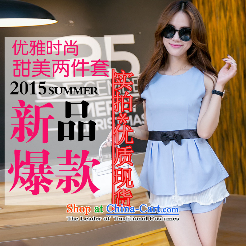 A new summer for women chiffon petticoats waist bow tie shirt shorts kit two kits 6096 Army Green XXL