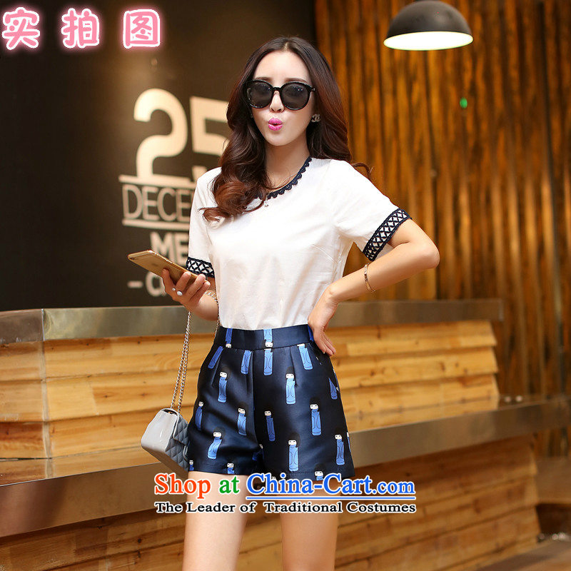 The new Korean version of the girl graphics thin short-sleeved cotton linen and stylish lounge suite stamp shorts two kits female white 5893?S
