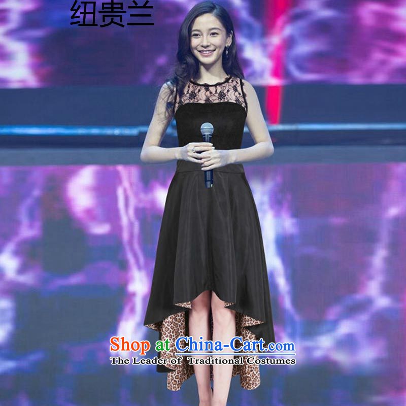 The estimated 128 # new NZ) Yang Ying and sexy stars lace stitching leopard dresses dress black?L
