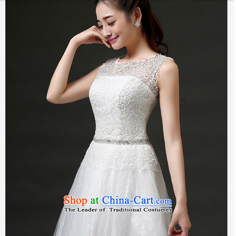 The first white into about bride services 2015 new bows bridesmaid Services Mr Ronald lace short of marriage banquet bridesmaid dress summer, White XL