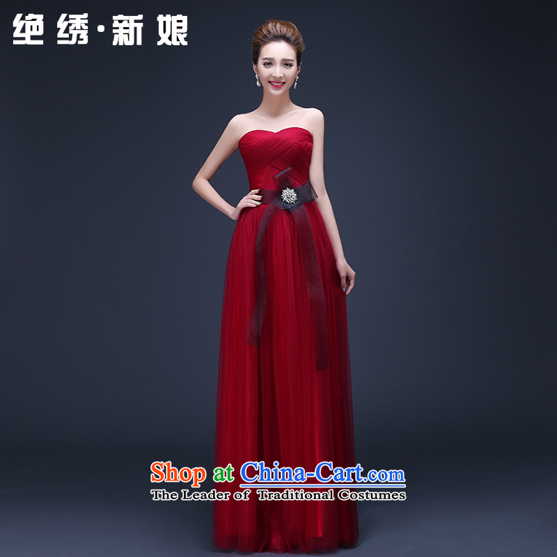 The Korean version of the new 2015 Red long marriage bows to wipe the chest video thin summer annual bride evening dresses red XL Suzhou Shipment
