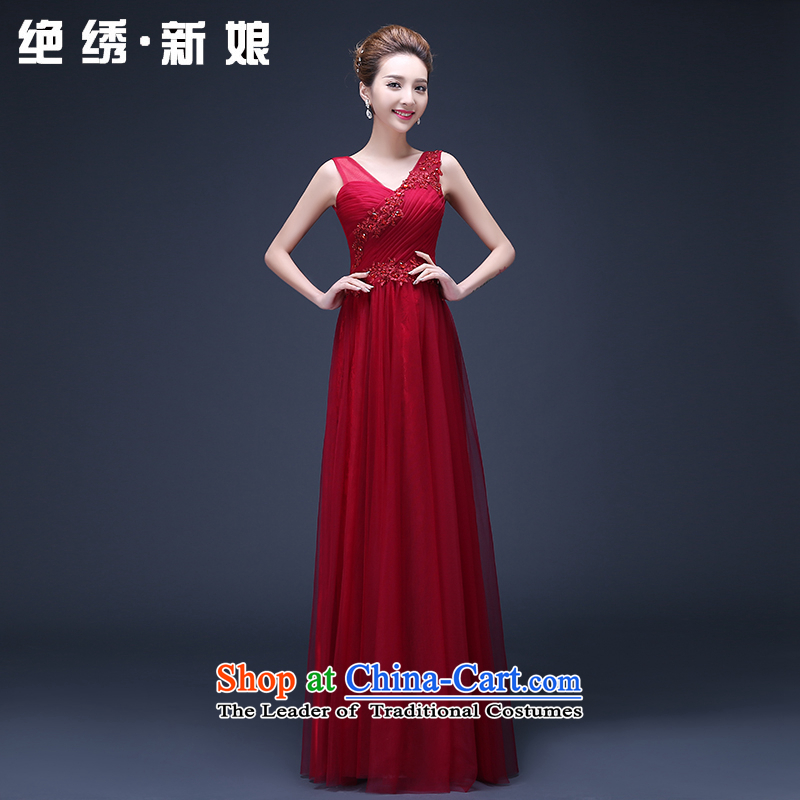 2015 new bride Summer Wedding Dress Sau San long red shoulders bows services under the auspices of the annual dinner dress red XXXL Suzhou Shipment