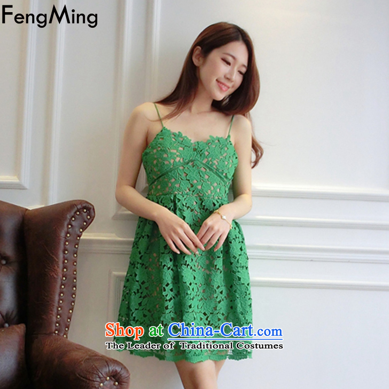 Hsbc Holdings plc Ming�Mr Star with 2015 big high-end aristocratic temperament lace dress skirt Sau San strap short skirt green�S