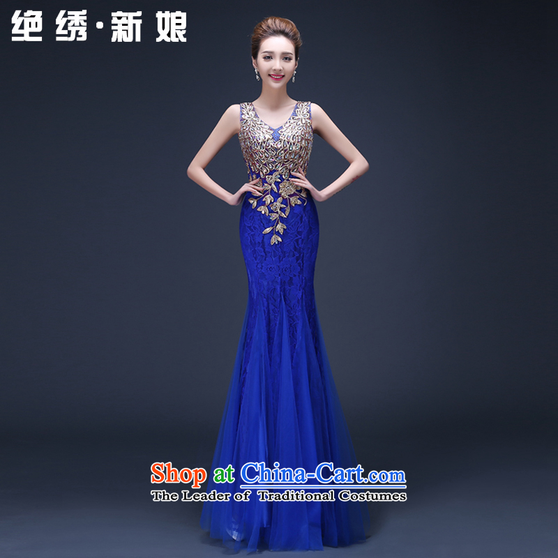 2015 new summer marriages Sau San long large graphics thin red shoulders annual service dress toasting champagne blue dress?XL?Suzhou Shipment