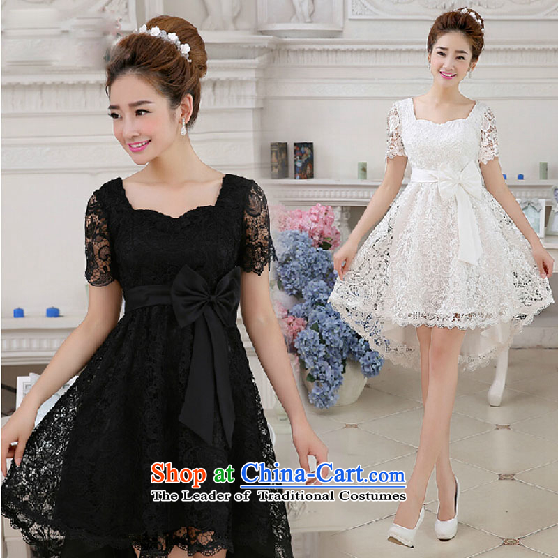 2015 Spring New short black 2-shoulder marriages bridesmaid service banquet dinner dress white dresses summer female black?L
