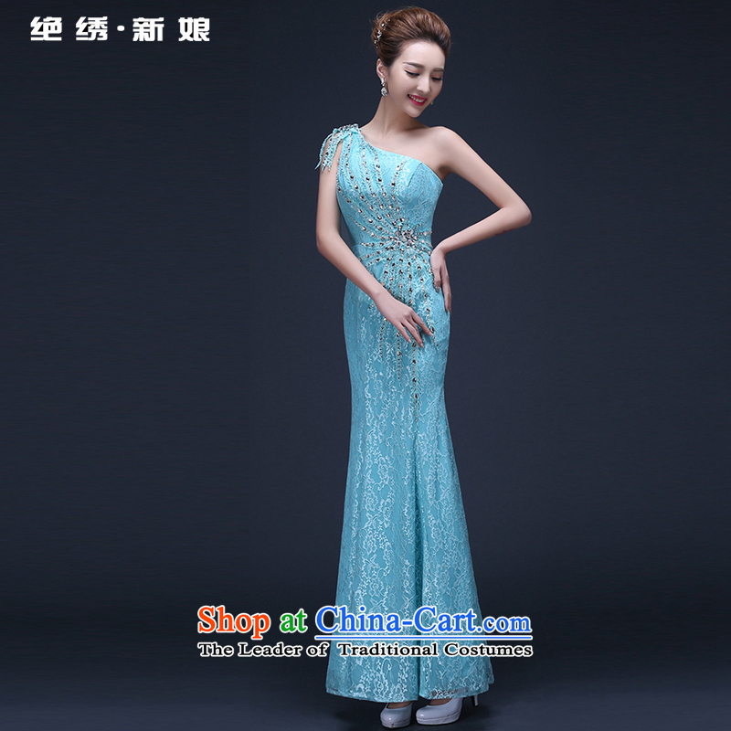Toasting champagne bride services 2015 new long large graphics thin shoulder annual Sau San evening dresses moderator summer sky blue tailor-made be NO refund