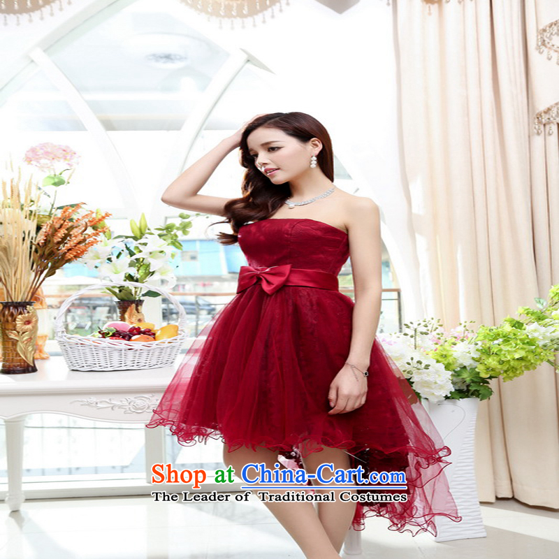 2015 new summer stylish sexy bare shoulders emulation frock coat under the trend of sweet waist bow tie temperament dress dark red?L