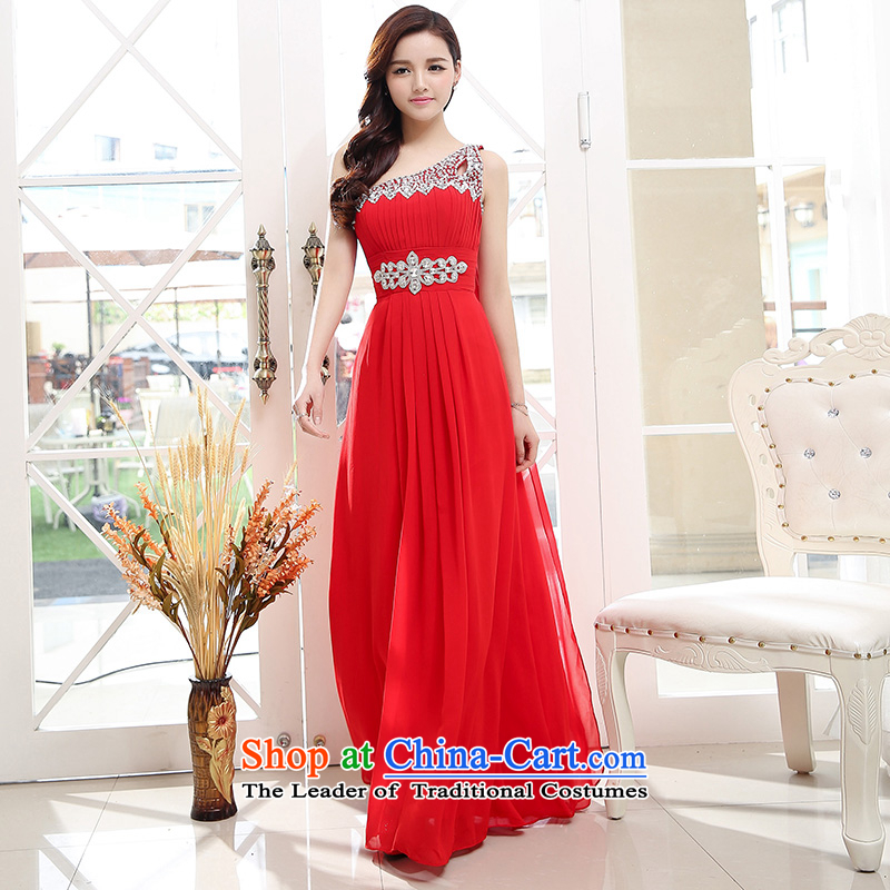 2015 new summer stylish Foutune of Sau San long trend of shining water drilling waist dotted red dress?XL