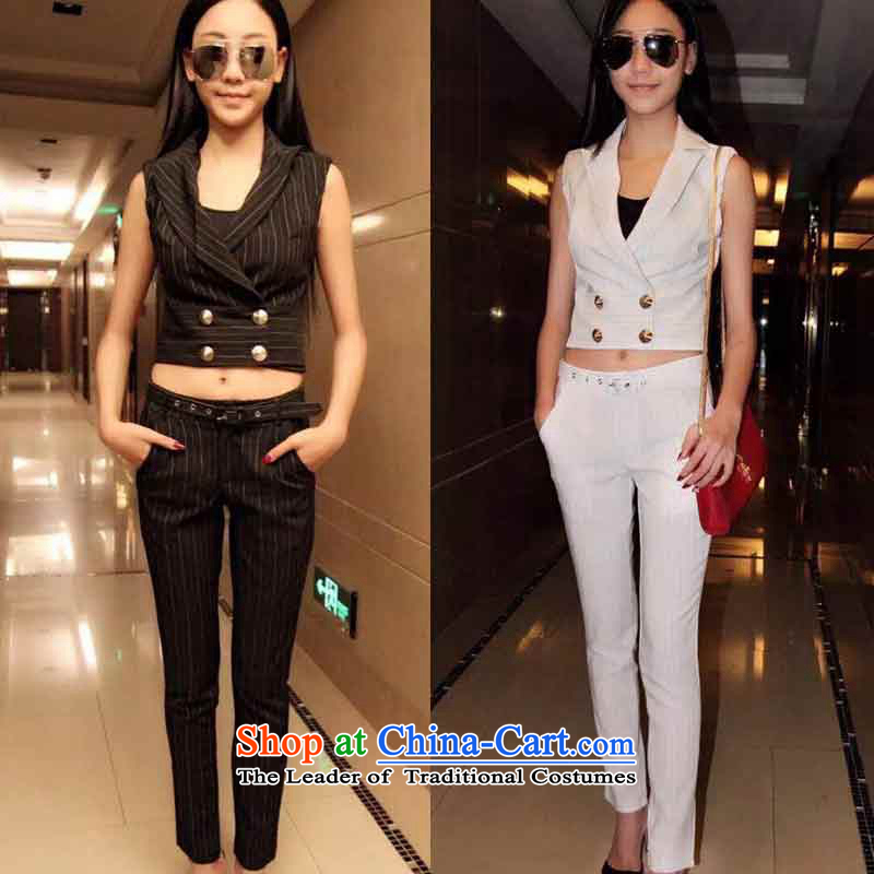 The new V-neck collar double-Sau San tank top streaks of 9 leisure wears pants to lap 655 white�S