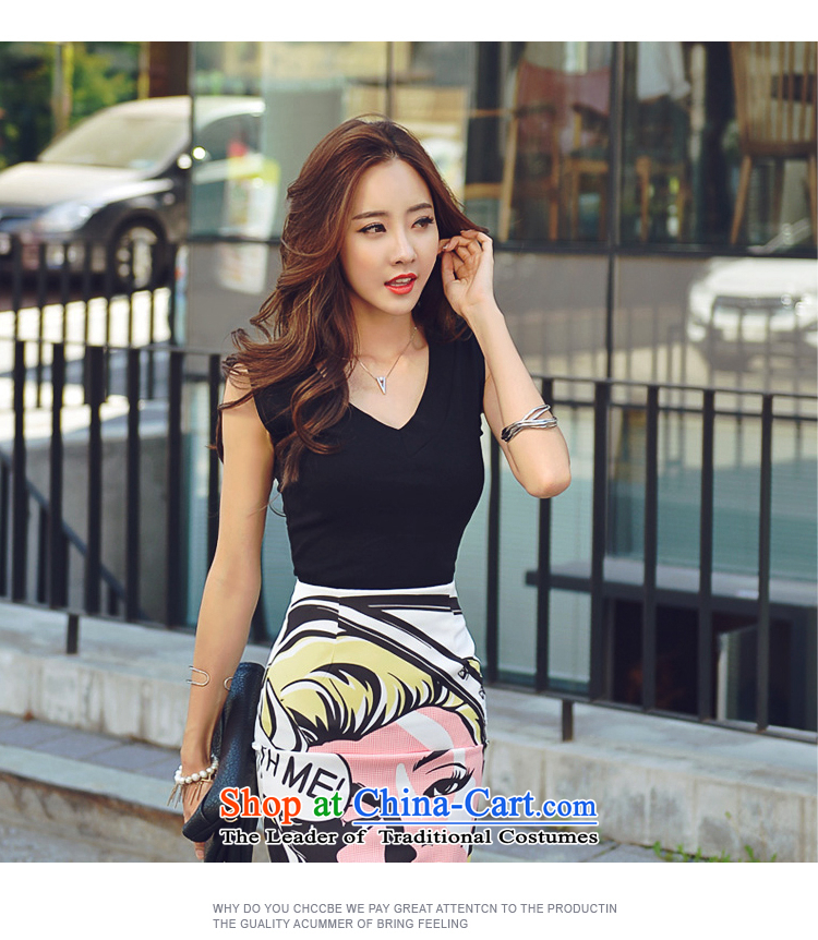 2015 new V-neck shirt, Luo Wen Sau San Stamp Pack and upper body skirt kit 3638th black�L