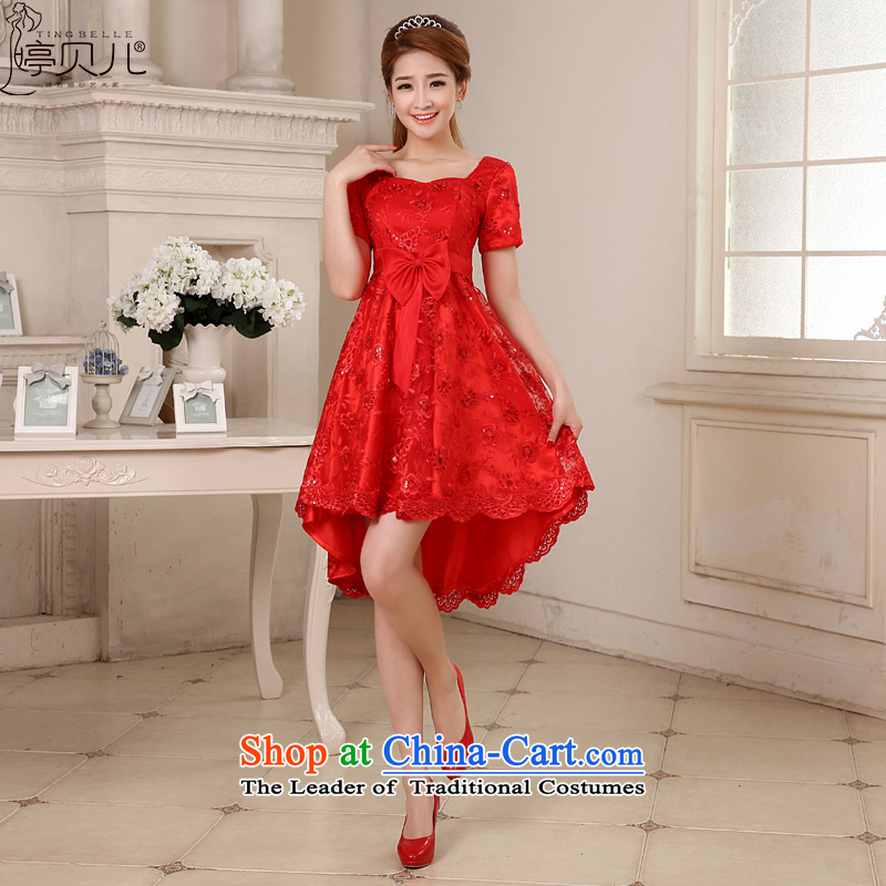 Beverly Ting bride bows services 2015 new winter pregnant women marry wedding dresses Red Dress Short, high waist video thin female red?XXL