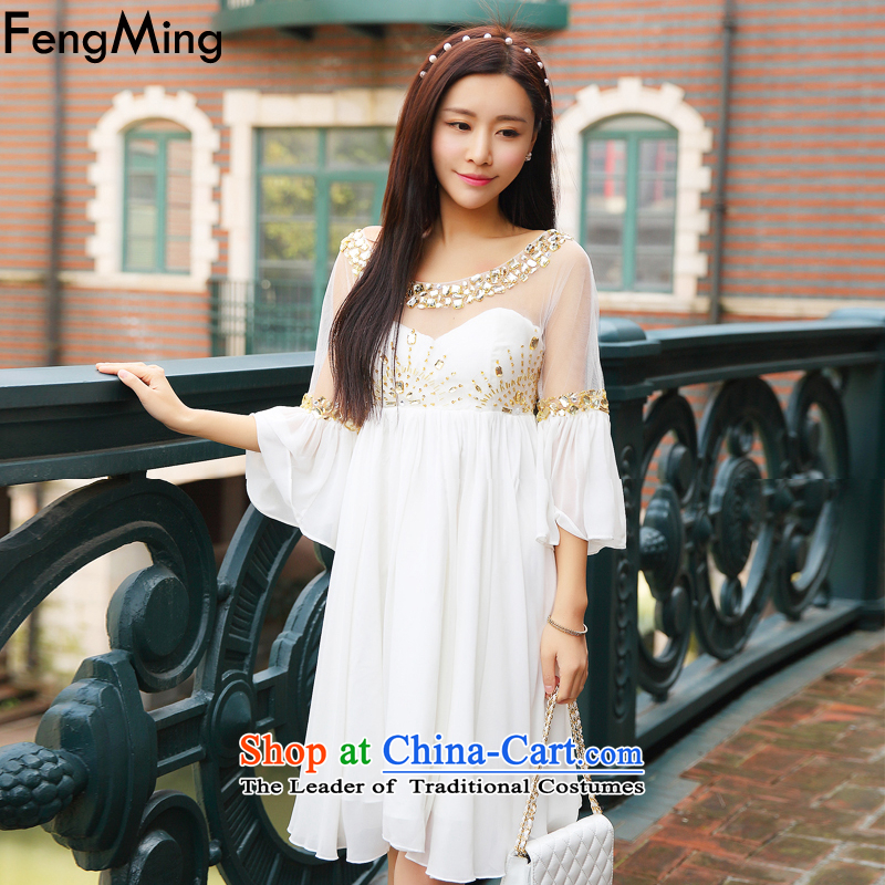 Hsbc Holdings Plc聽2015 Autumn Ming dresses new luxury heavy industry staples bead dress skirt gold water drilling off the cuff large goddess skirt white聽S