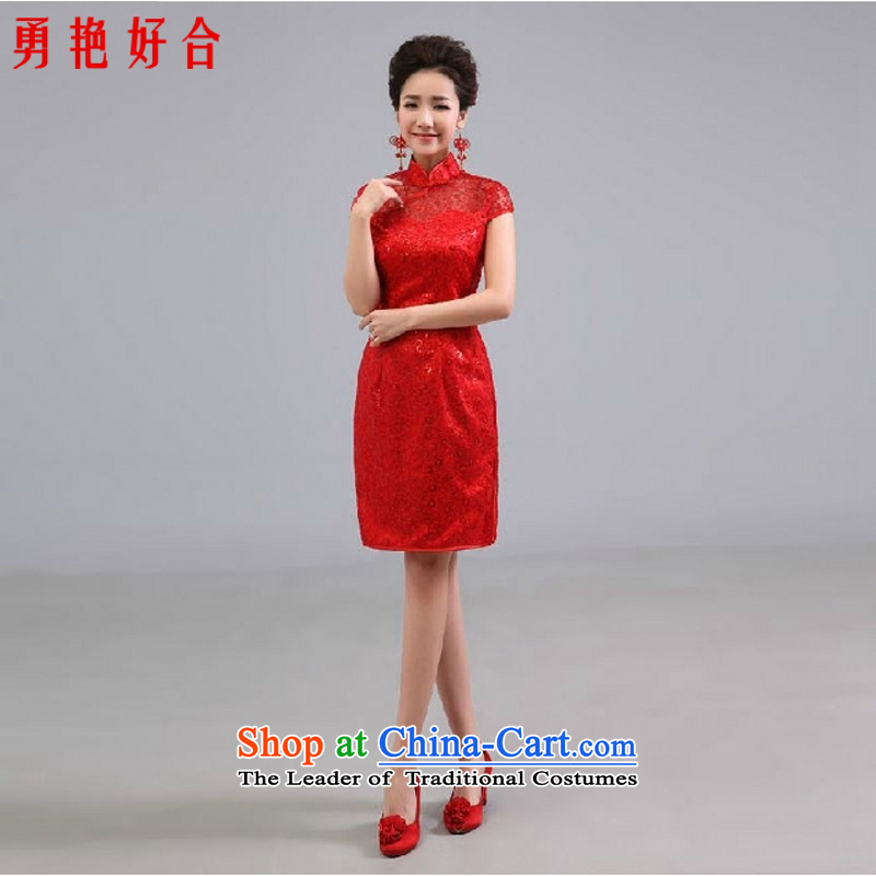 Wedding dresses new 2015 Chinese short of Qipao Sau San improved marriage services red red as a drink do not returning the size color