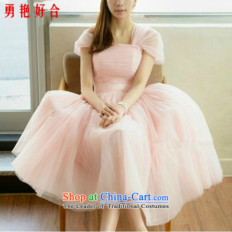 Yong-yeon and bride dress stylish bon bon dress bow tie design sweet princess bridesmaid dress will serve pink?XXL