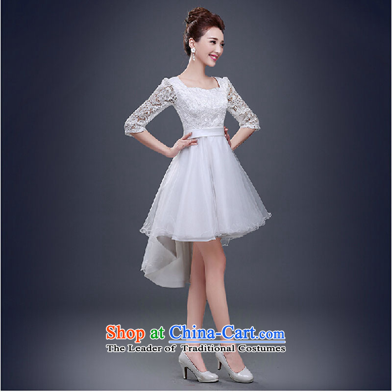 Pure Love bamboo yarn bows services during the summer of 2015, the new field shoulder marriages larger evening dresses red bridesmaid service banquet short, white tailored please contact Customer Service