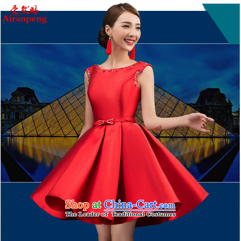 Love So Peng dress new luxury marriage 2015 twill satin red petticoat bride services bows LF7567 2 XL