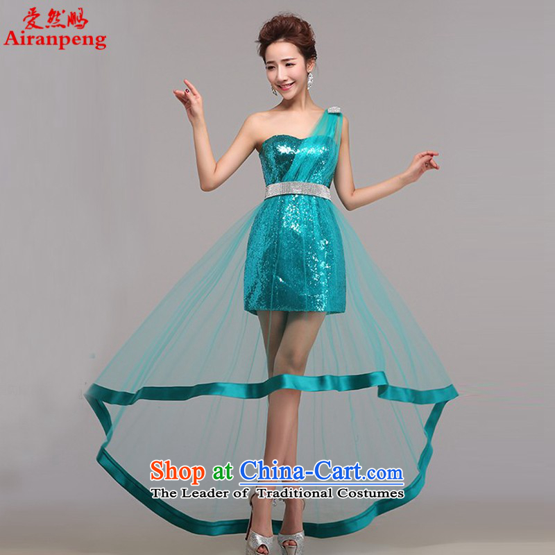 Love So Peng bride wedding dress spring 2015 new service before the banquet short bows long after the Korean version of the single party will shoulder a light blue to the size of the customer to return does not support