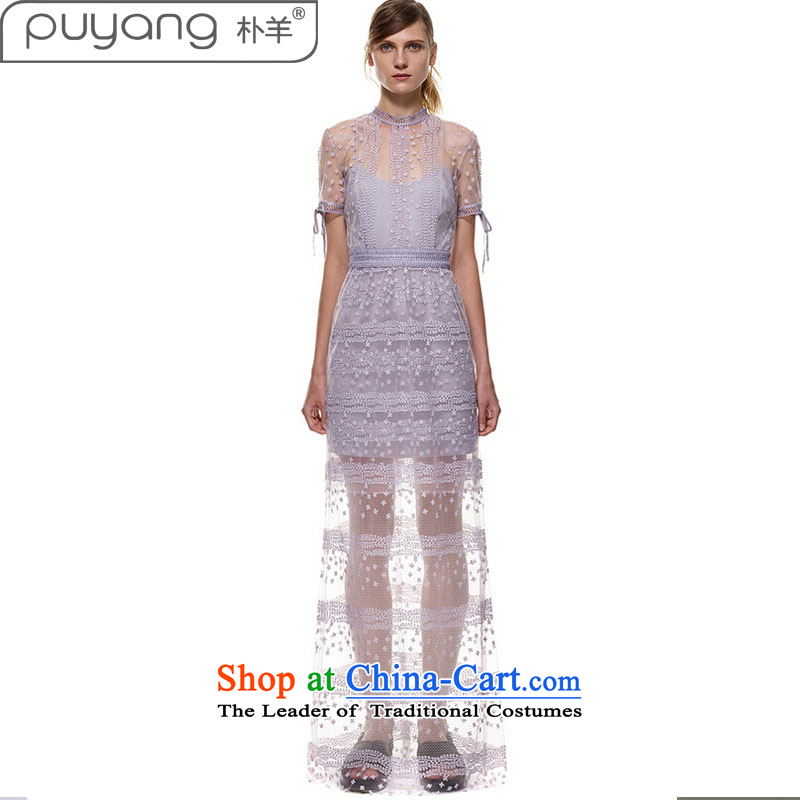 2015 European and American star Park sheep with lace dresses elegant aristocratic engraving sexy dress back long skirt light purple�L
