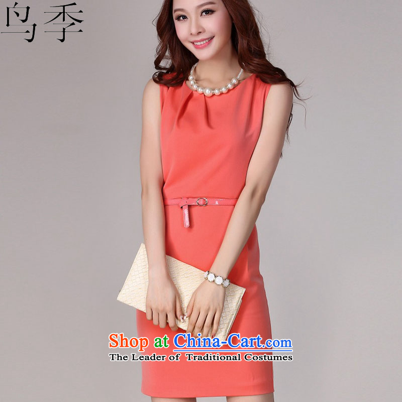 2015 summer season bird new women's sleeveless Sau San vocational chiffon dresses package and in forming the thin graphics temperament skirt dress skirt L1010 ORANGE?L