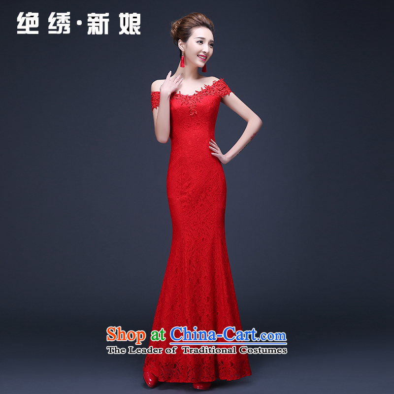 The Korean version of the 2015 red lace a shoulder Sau San long crowsfoot marriages annual service dress bows to be no refund red