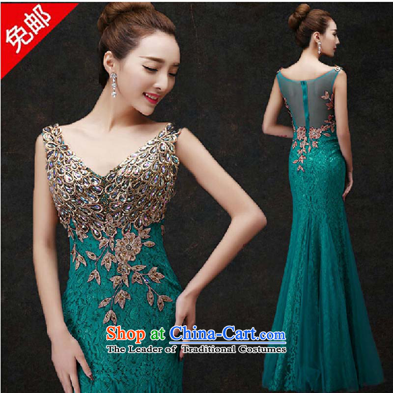 Evening dress Summer 2015 new marriages banquet bows to the moderator dress Golden Girls Sau San long green�M