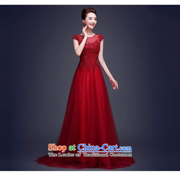 Beverly Ting long dark red dress 2015 new bride bows to lace summer shoulders tail wedding dress video thin dark redXL Photo, prices, brand platters! The elections are supplied in the national character of distribution, so action, buy now enjoy more preferential! As soon as possible.