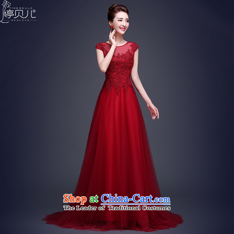 Beverly Ting long dark red dress 2015 new bride bows to lace summer shoulders tail wedding dress video thin dark red聽XL