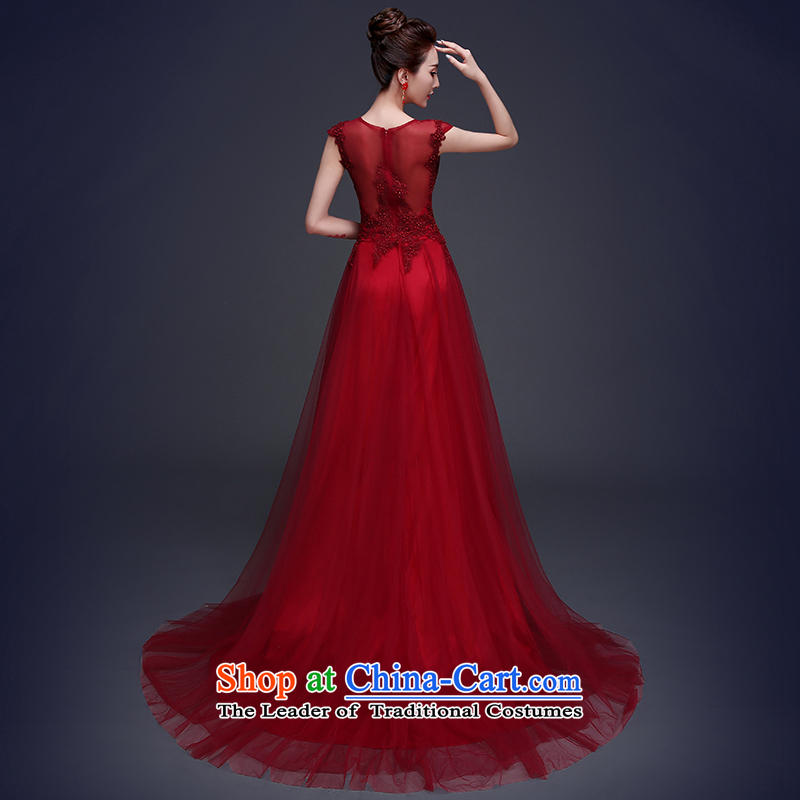 Beverly Ting long dark red dress 2015 new bride bows to lace summer shoulders tail wedding dress video thin dark redXL, Beverly (tingbeier ting) , , , shopping on the Internet