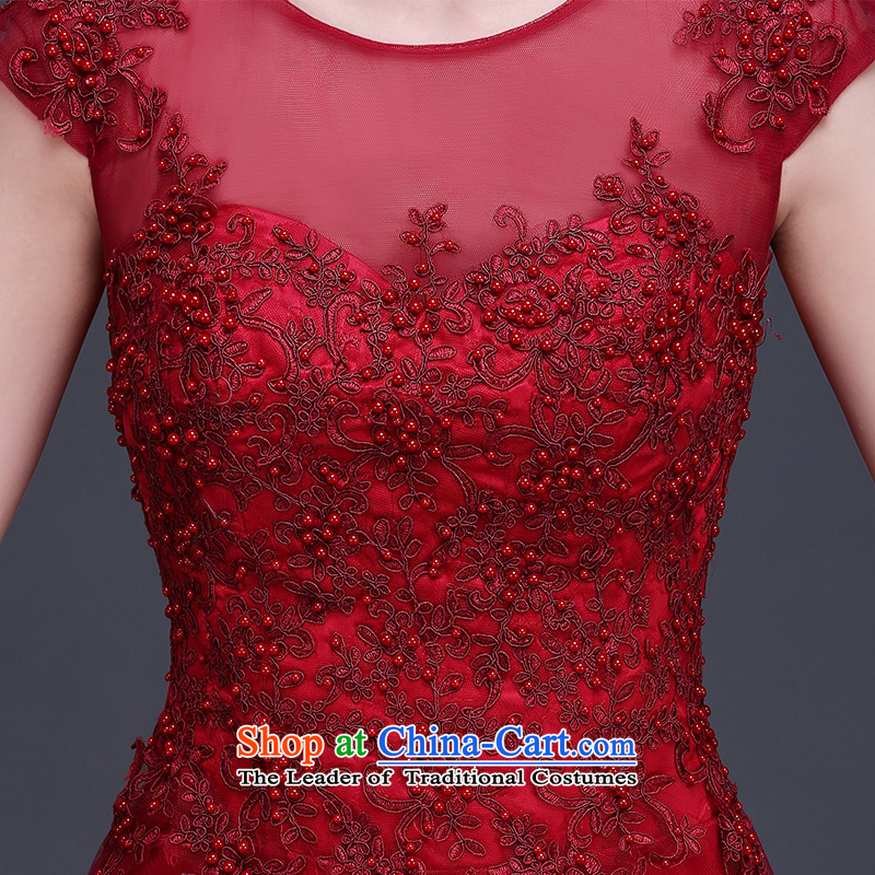 Beverly Ting long dark red dress 2015 new bride bows to lace summer shoulders tail wedding dress video thin dark red聽XL, Beverly (tingbeier ting) , , , shopping on the Internet