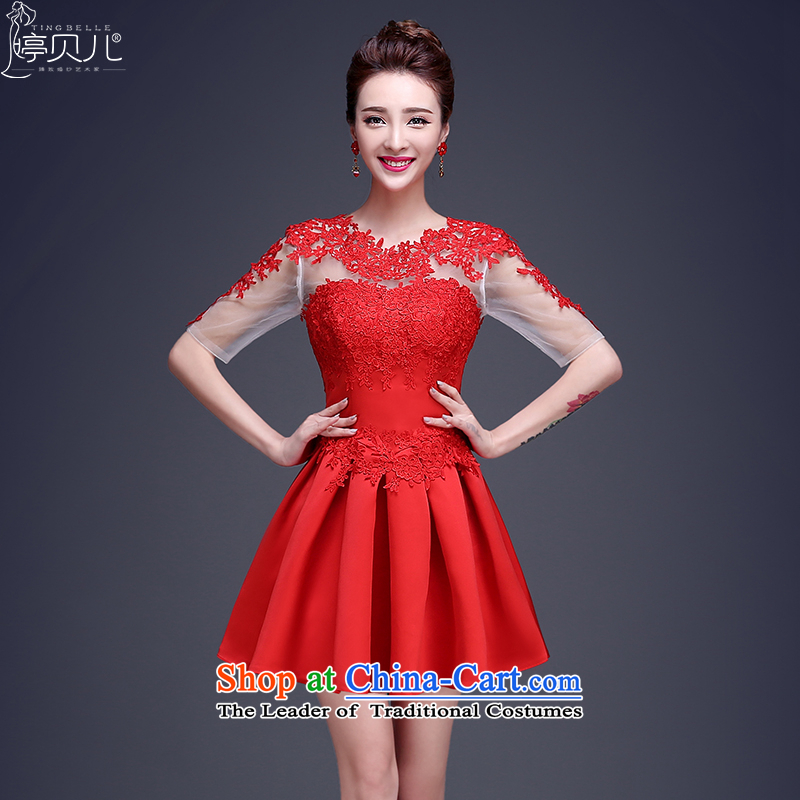 Beverly Ting 2015 new bride Services Mr Ronald short bows of long-sleeved lace wedding dress the betrothal of red dress shoulder RED聽M