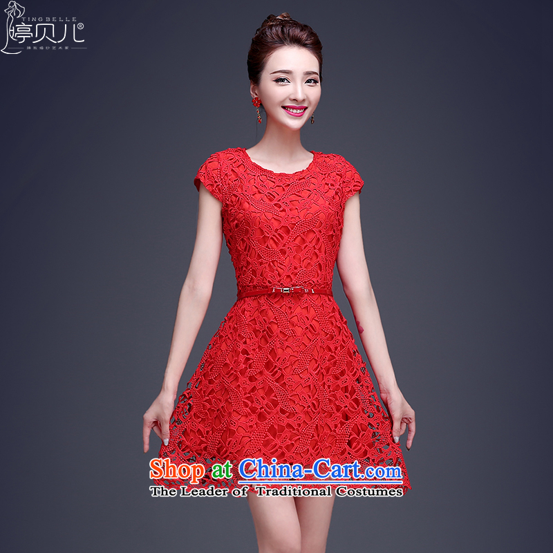 Beverly Ting bows Service Bridal Summer 2015 new red lace wedding dress short of the betrothal small dress dresses Sau San Red?XL