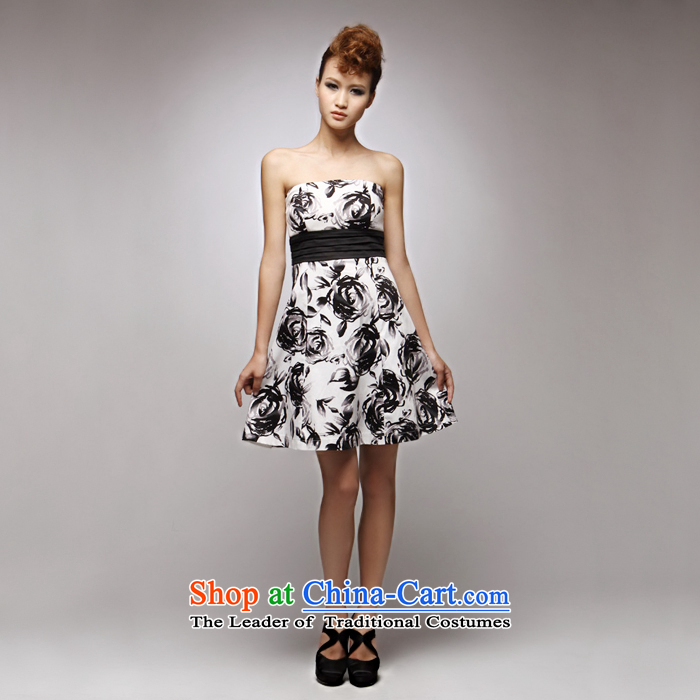 ?Evening dresses GOSSIP.D small dresses evening dresses in spring and autumn 2015 replacing ink printed retro Black Rose Foutune of wiping the chest skirt 1018 Black/White?L