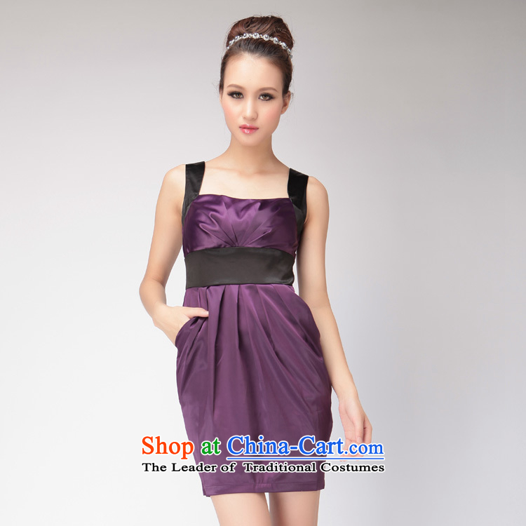 ?2015 Europe heard flying GOSSIP.D Sau San Dress Short of evening dress skirt video thin elegant evening dresses stamp temperament 1025 Purple/black?S