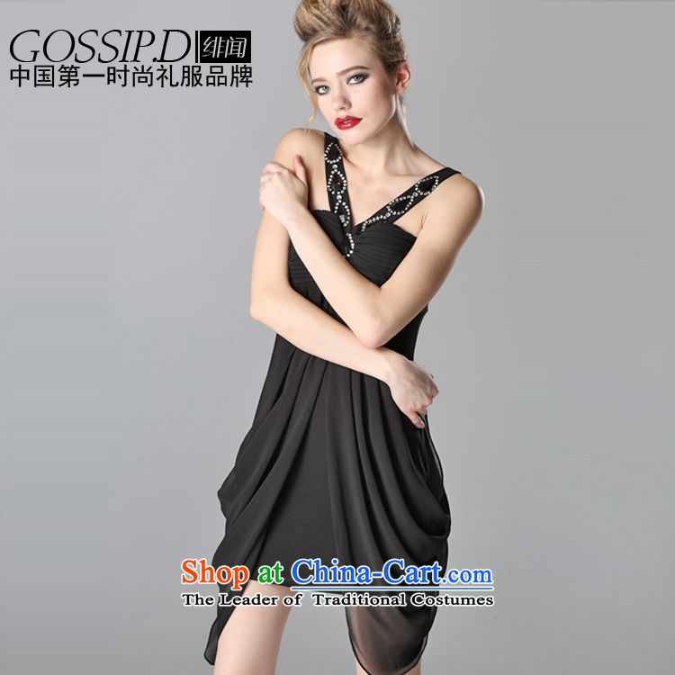 ?Noble heard flying GOSSIP.D embedded drill V-Neck evening dress short of big western dress dress evening dress 1061 Black?S small