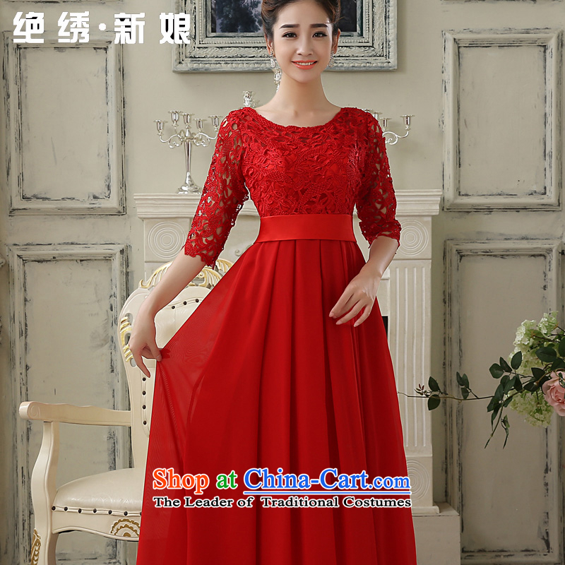 No new 2015 bride embroidered wedding dress bows service of a field shoulder lace Sau San long-sleeved bridesmaid services red stylish long) do not return