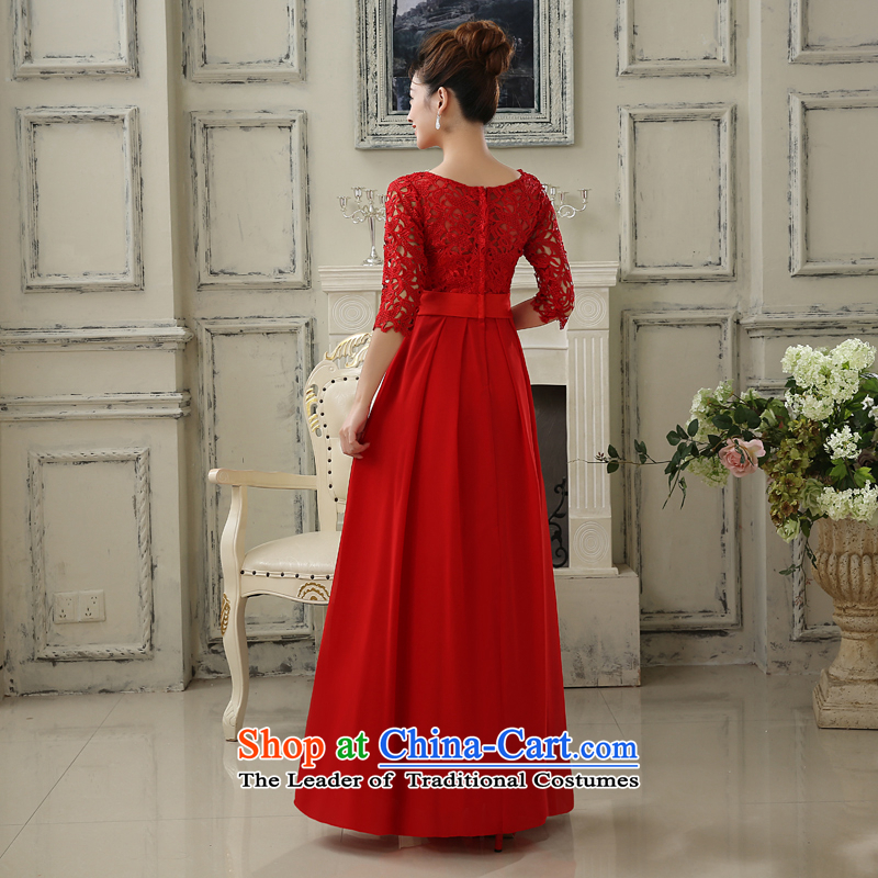 No new 2015 bride embroidered wedding dress bows service of a field shoulder lace Sau San long-sleeved bridesmaid services red stylish long) do not return, embroidered bride shopping on the Internet has been pressed.