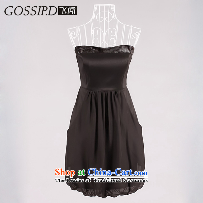 �Special offers small dresses GOSSIP.D dresses Evening Dress Short) Party Chiffon Top Loin skirts stitching anointed chest skirt 1020 Black�M